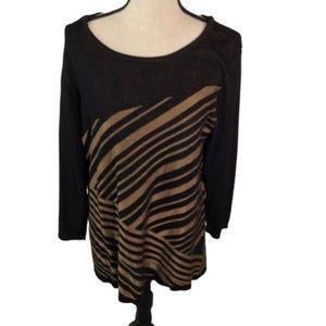 Dana Buchman Camel & Black Asymmetrical Sweater XL